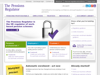 Screenshot of The Pensions Regulator
