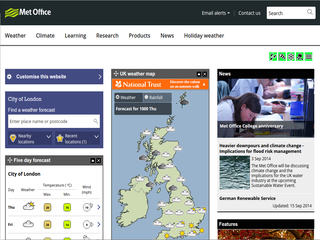 Screenshot of Met Office
