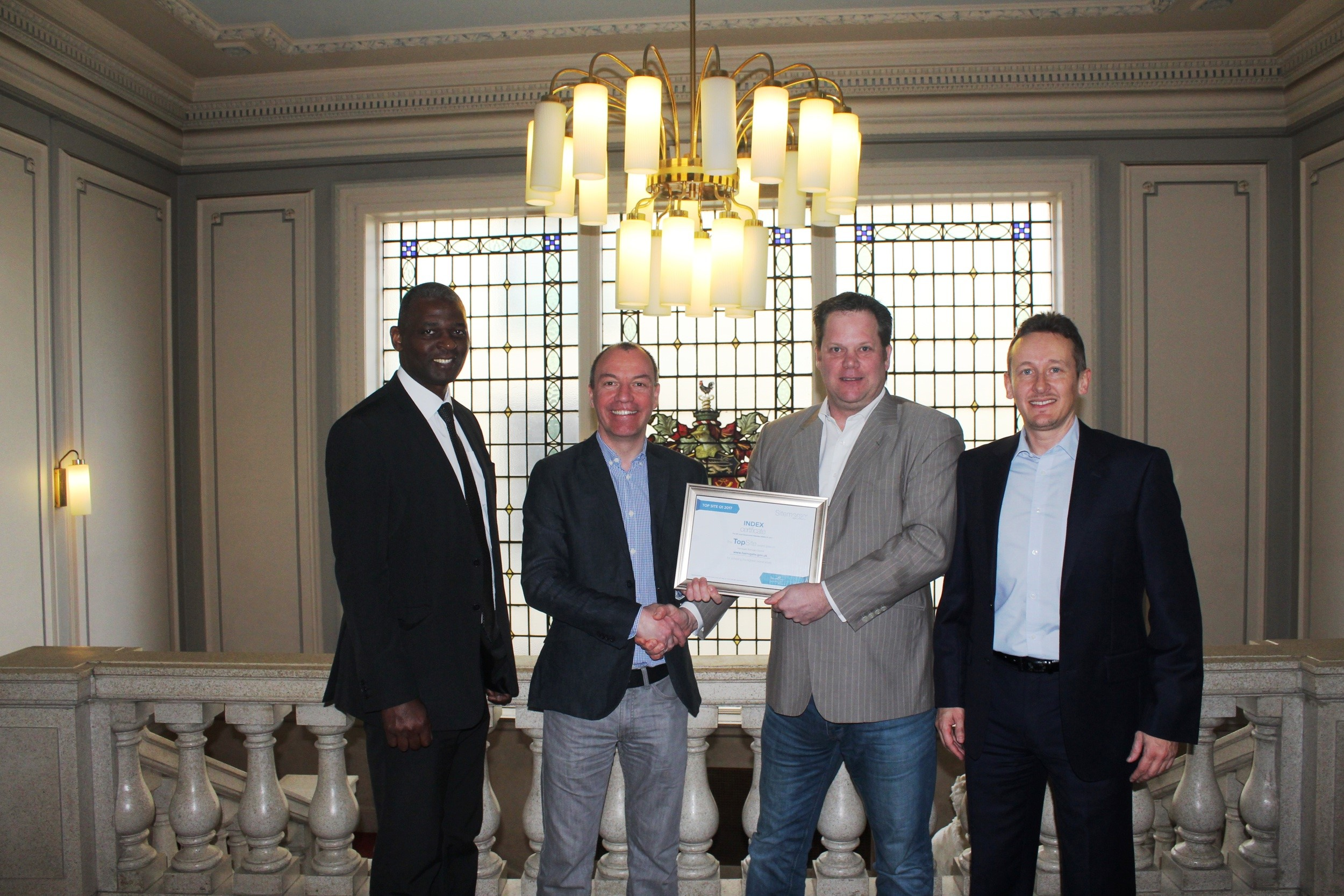 Image of Certificate Handover from Sitemorse to Harrogate