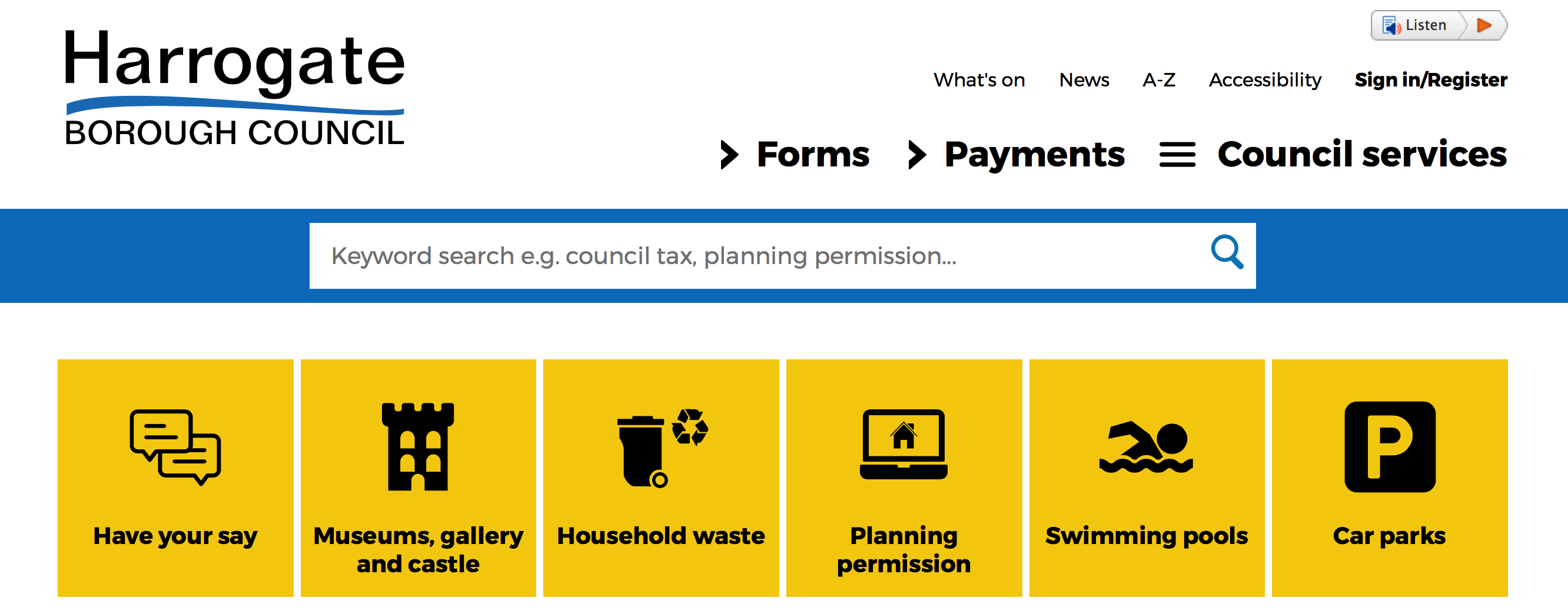 Screenshot of Harrogate Borough Council Homepage