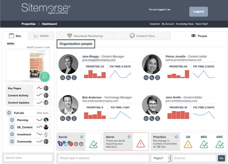 Example of Sitemorse V12 Dashboard