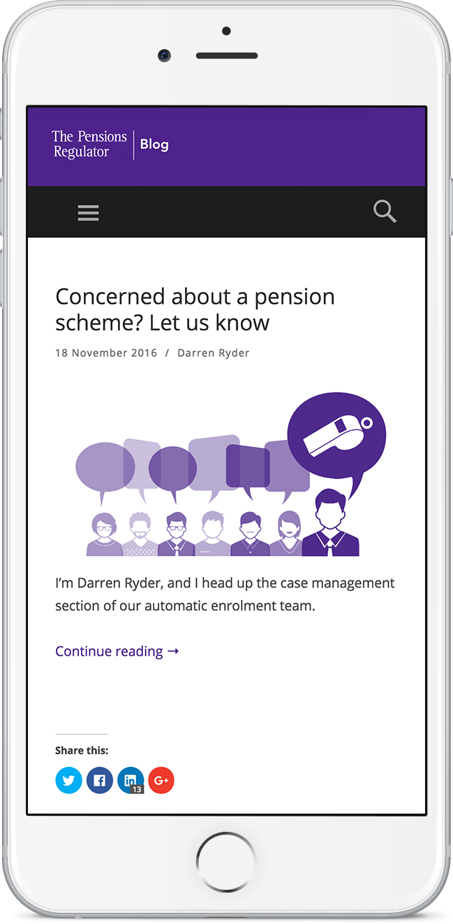 Pensions Regulator Mobile Site Screenshot on iPhone