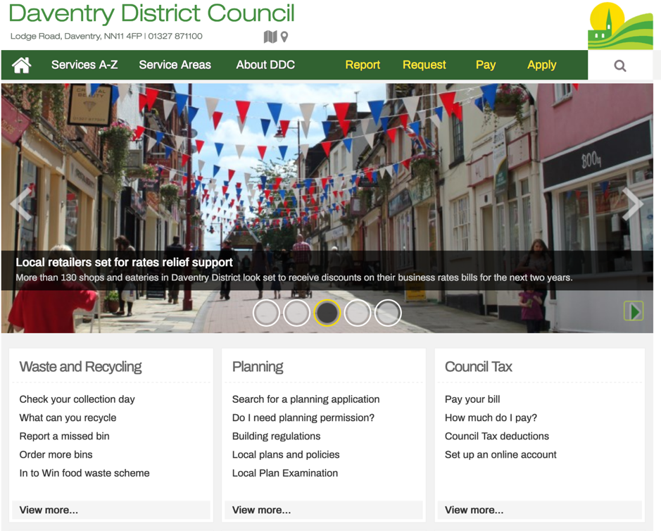Daventry District Council Homepage Screenshot