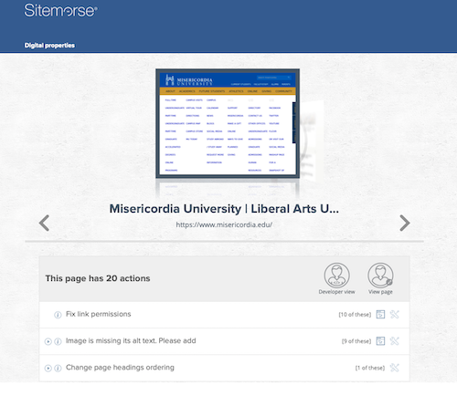 Screenshot of Sitemorse assessment of Miscordia University's home page