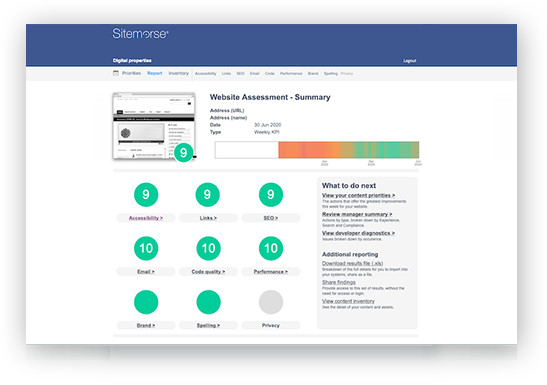 Sitemorse summary report