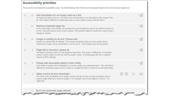 accessibility priorities list